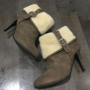 Shoes - Heeled Shearling Booties